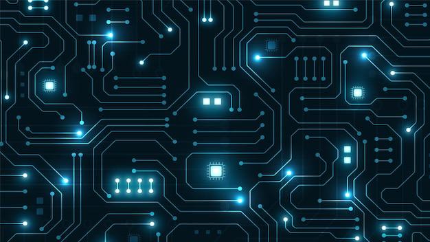Fundo de tecnologia de circuito com sistema de conexão de dados digital de alta tecnologia e design eletrônico de computador Vetor Premium