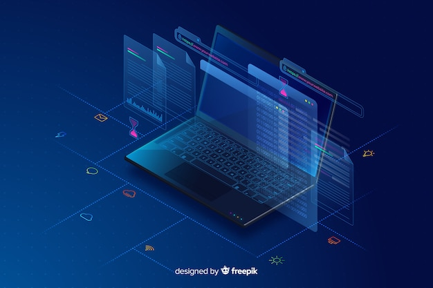 Fundo de tecnologia de laptop isométrica de gradiente Vetor grátis