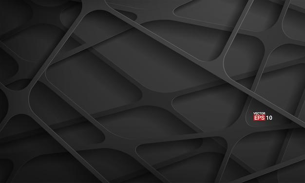 Fundo de tecnologia de listras pretas abstratas Vetor grátis