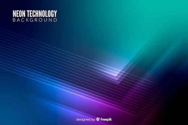 Fundo de tecnologia de luzes de néon Vetor grátis