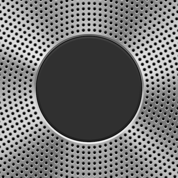 Fundo de tecnologia de metal com padrão de círculo perfurado Vetor Premium