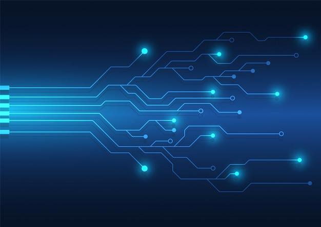Fundo de tecnologia de placa de circuito com sistema de conexão de dados digitais de alta tecnologia e desing eletrônico de computador Vetor Premium