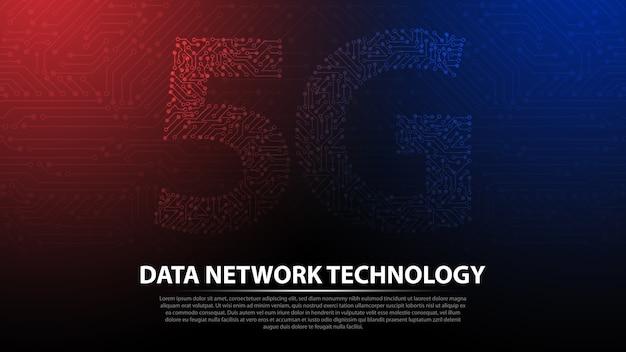 Fundo de tecnologia de rede de dados 5g Vetor Premium