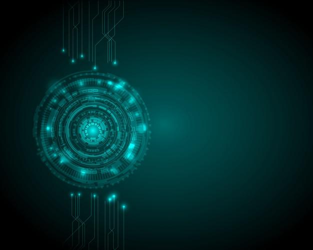 Fundo de tecnologia digital abstrata círculo Vetor Premium