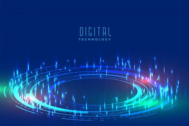 Fundo de tecnologia digital brilhante com padrão furutista Vetor grátis