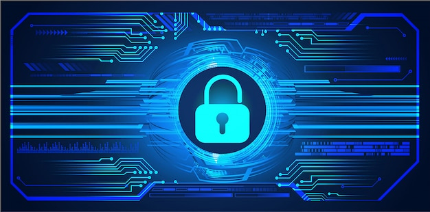 Fundo de tecnologia futura azul hud cyber circuito, cadeado fechado, chave Vetor Premium