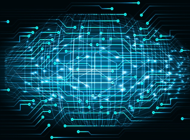Fundo de tecnologia futura do circuito cyber azul Vetor Premium