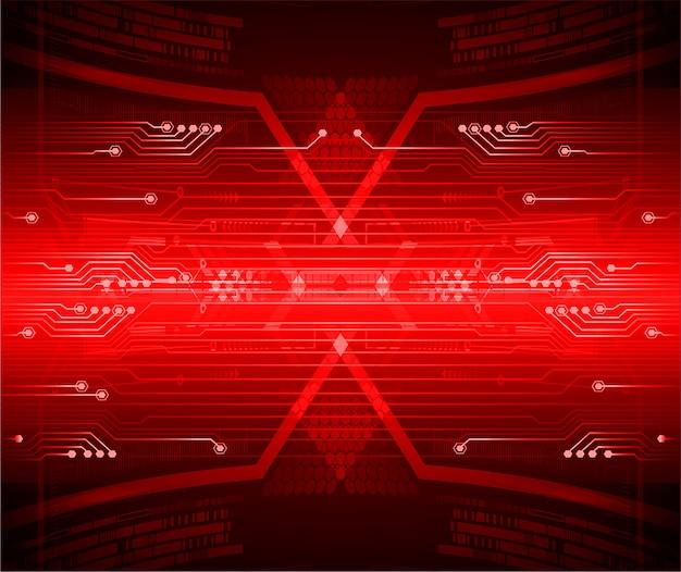 Fundo de tecnologia futura do circuito vermelho cibernético Vetor Premium