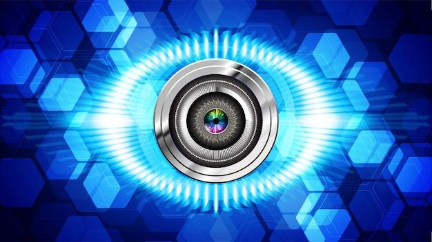 Fundo de tecnologia futura do olho azul cyber circuito Vetor Premium