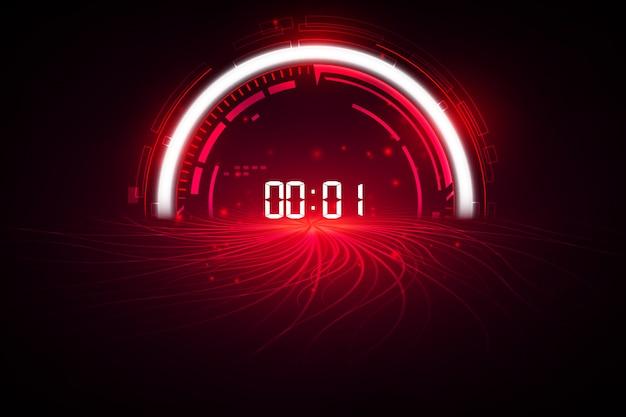 Fundo de tecnologia futurista abstrata com conceito de temporizador de número digital e contagem regressiva Vetor Premium