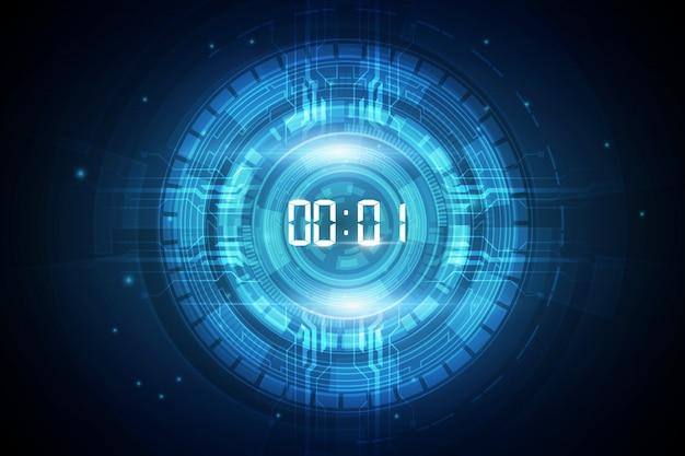 Fundo de tecnologia futurista abstrata com temporizador de número digital e contagem regressiva Vetor Premium