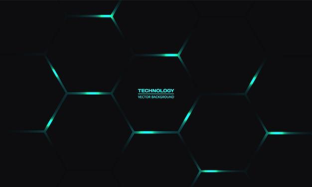 Fundo de tecnologia hexagonal preto com energia brilhante turquesa pisca sob o favo de mel no fundo abstrato escuro. Vetor Premium