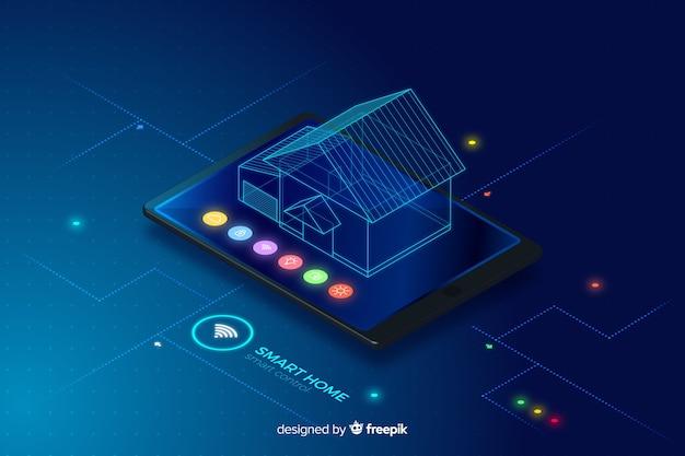 Fundo de tecnologia isométrica casa inteligente gradiente Vetor grátis