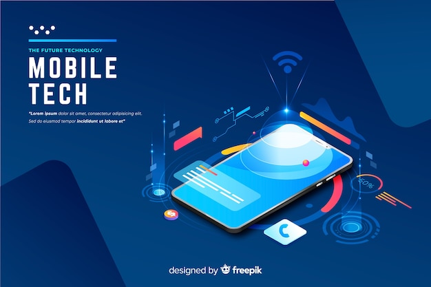 Fundo de tecnologia isométrica de smartphone gradiente Vetor grátis