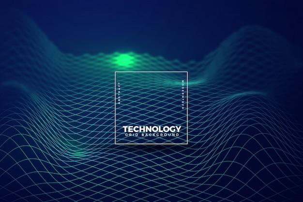 Fundo de tecnologia verde ondulado Vetor Premium