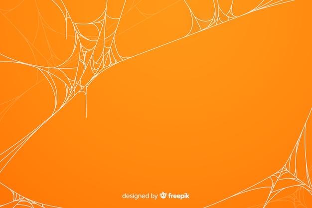 Fundo de teia de aranha de halloween laranja Vetor grátis
