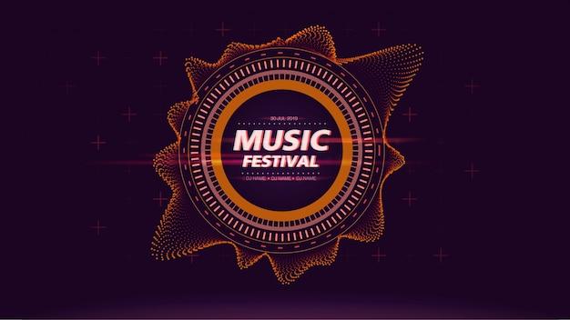 Fundo de tela de web festival de música em laranja Vetor Premium