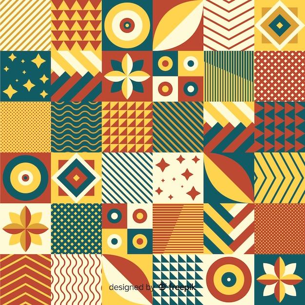 Fundo de telha de mosaico geométrico colorido Vetor grátis