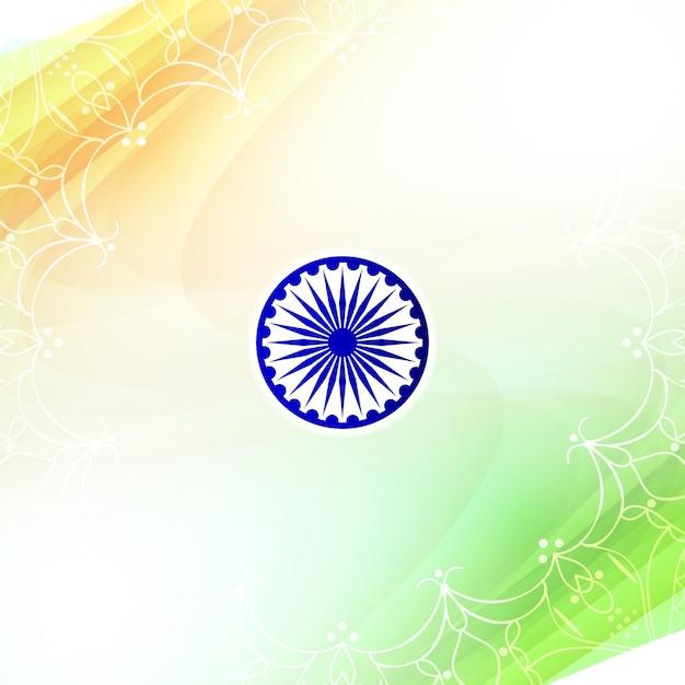 Fundo de tema da bandeira indiana tricolor ondulado elegante Vetor grátis