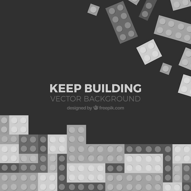 Fundo de tetris e peças de construção em preto e branco Vetor grátis