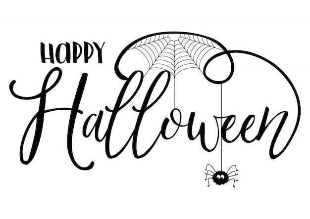 Fundo de texto de halloween com aranha e teia de aranha Vetor grátis