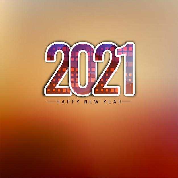 Fundo de texto decorativo de feliz ano novo 2021 Vetor grátis