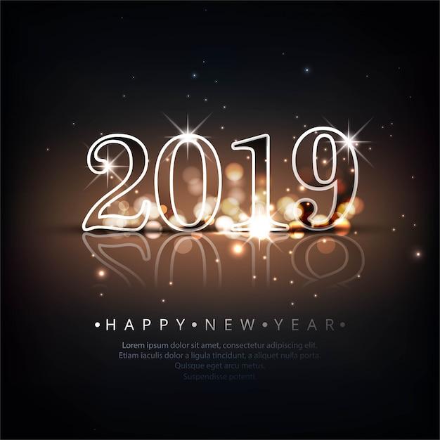 Fundo De Texto Lindo Feliz Ano Novo 2019 Baixar Vetores Grátis