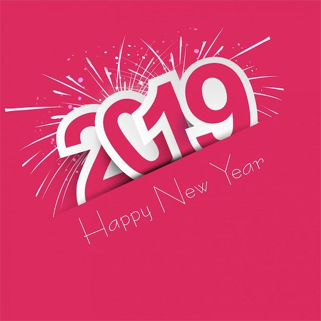 Fundo de texto lindo feliz ano novo 2019 Vetor grátis