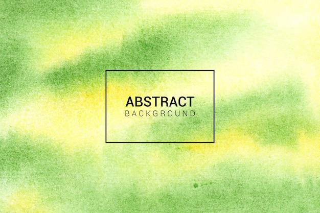 Fundo de textura abstrato verde e amarelo pintado à mão em aquarela Vetor Premium