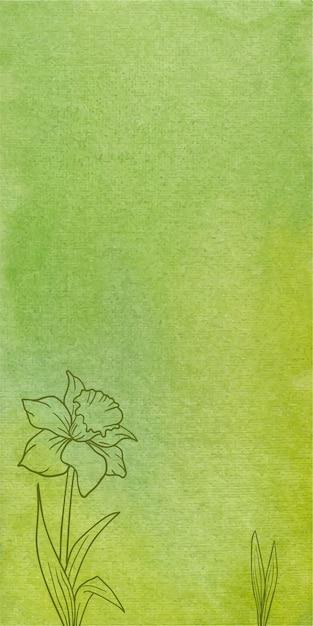 Fundo de textura de banner aquarela verde abstrato com flores desenhadas à mão Vetor Premium