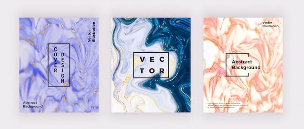 Fundo de textura de mármore líquido aquarela Vetor Premium