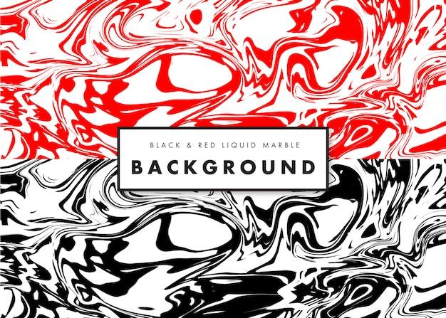 Fundo de textura de mármore líquido preto e vermelho Vetor Premium