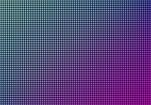 Fundo de textura de tela de parede de vídeo led, painel de tv de grade de ponto de diodo de luz de cor azul e roxo, display lcd com padrão de pixels, monitor digital de televisão, ilustração em vetor 3d realista Vetor grátis