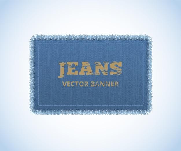 Fundo de textura jeans. banner realista de jeans. Vetor Premium