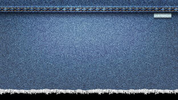 Fundo de textura realista de jeans, azul jeans Vetor Premium