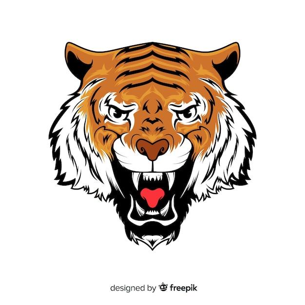 Fundo de tigre rugindo Vetor grátis
