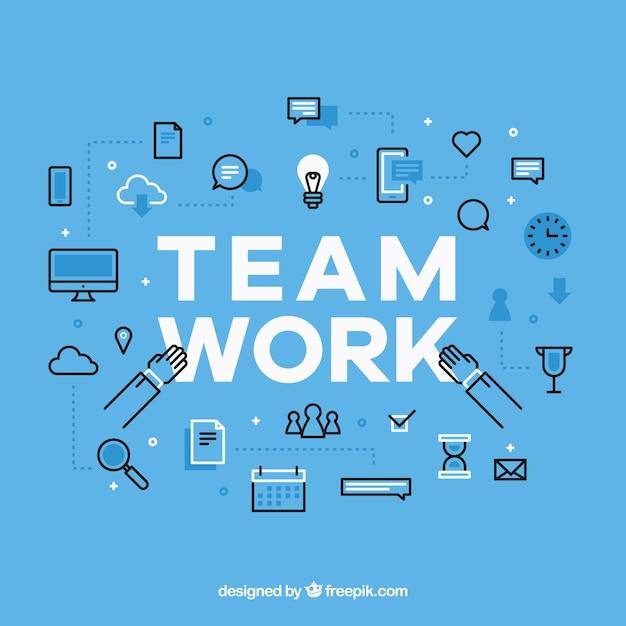 Fundo de trabalho em equipe em design plano Vetor grátis