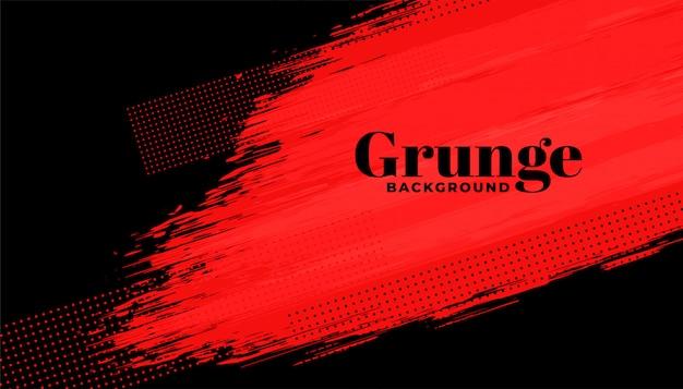 Fundo de traçado de pincel abstrato grunge vermelho e preto Vetor grátis
