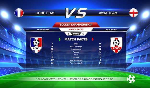 Fundo de transmissão do campeonato de futebol Vetor grátis