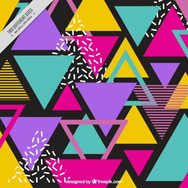 Fundo de triângulos coloridos em estilo de memphis Vetor grátis