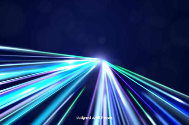 Fundo de trilha de luz de néon colorido Vetor grátis