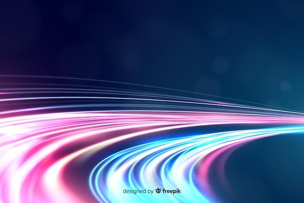 Fundo de trilha de luz ondulada de néon colorido Vetor grátis