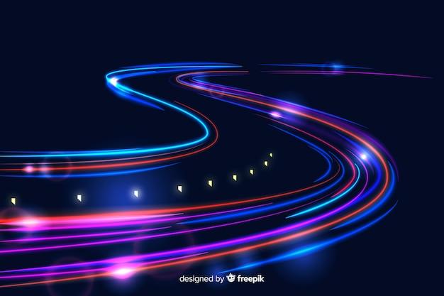 Fundo de trilha de luzes de alta velocidade Vetor grátis