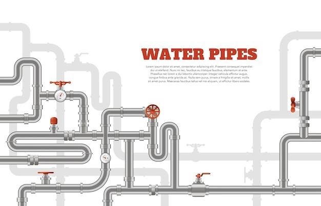 Fundo de tubulações de água. bandeira de construção de dutos de metal, modelo de tubos de tubos industriais, ilustração do sistema de engenharia de tubos de aço. sistema de drenagem de canalização, equipamento técnico Vetor Premium