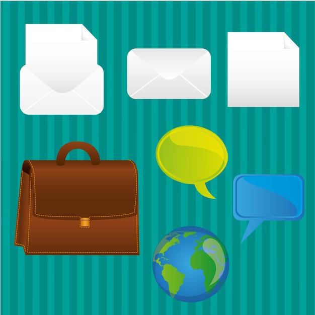 Fundo de turquesa de ícones de negócios Vetor Premium