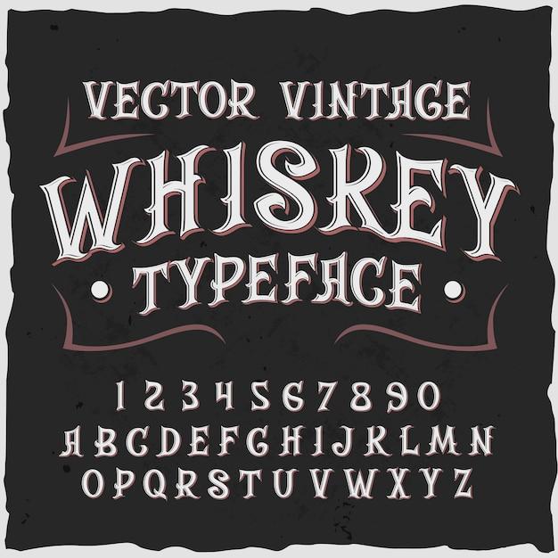 Fundo de uísque com texto de rótulo de estilo vintage, dígitos ornamentados e letras com ilustração de moldura Vetor grátis