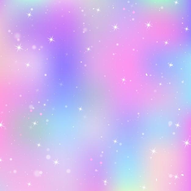 Fundo de unicórnio com malha de arco-íris. universo colorido em cores princesa. gradiente de fantasia com holograma. Vetor Premium