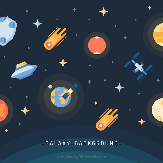 Fundo de universo com terra e meteoritos Vetor grátis