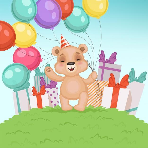 Fundo de urso fofo. brinquedo ursinho engraçado para crianças sentadas ou em pé personagem de presentes de aniversário ou dia dos namorados Vetor Premium