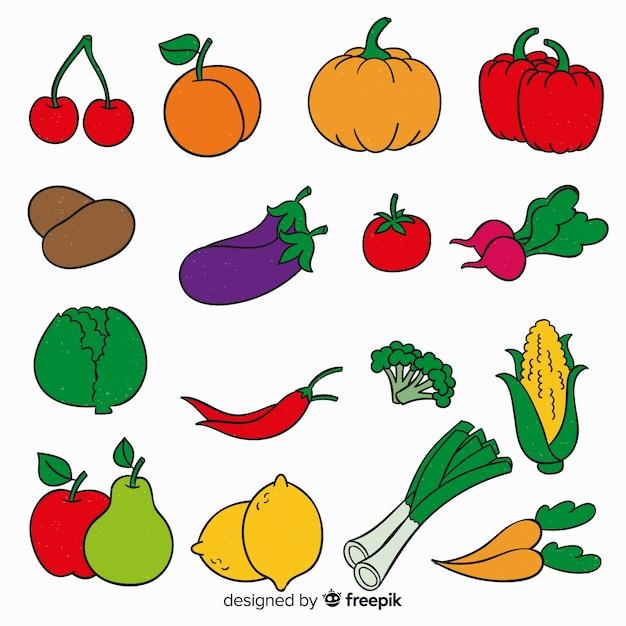 Fundo de vegetais e frutas de mão desenhada Vetor grátis